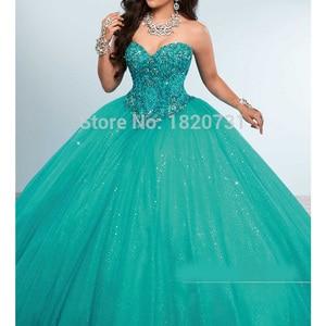 Image 4 - Encantador querida vestidos de baile quinceanera beading cristal lantejoulas tule debutante para doce 16 anos vestido