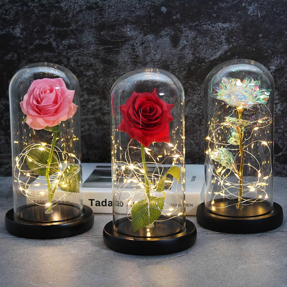 Cadeau Romantique Chaud Et Led Enchantee Galaxie Rose La Belle Et La Bete Rose En Rose Eternelle Rouge Et Rose Belle Rose Dome En Verre Aliexpress