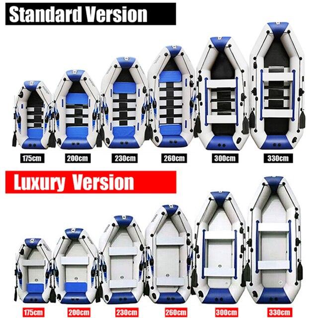 Bateau de pêche gonflable en PVC, 3 couches, stratifié, résistant à l'usure, pour 2 à 6 personnes, canoë à rames 3