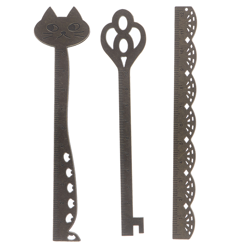 1pc Kawaii Retro Vintage Style Metal Alloy Cat Lace Ruler Bookmarks For School Office Supplies Stationery