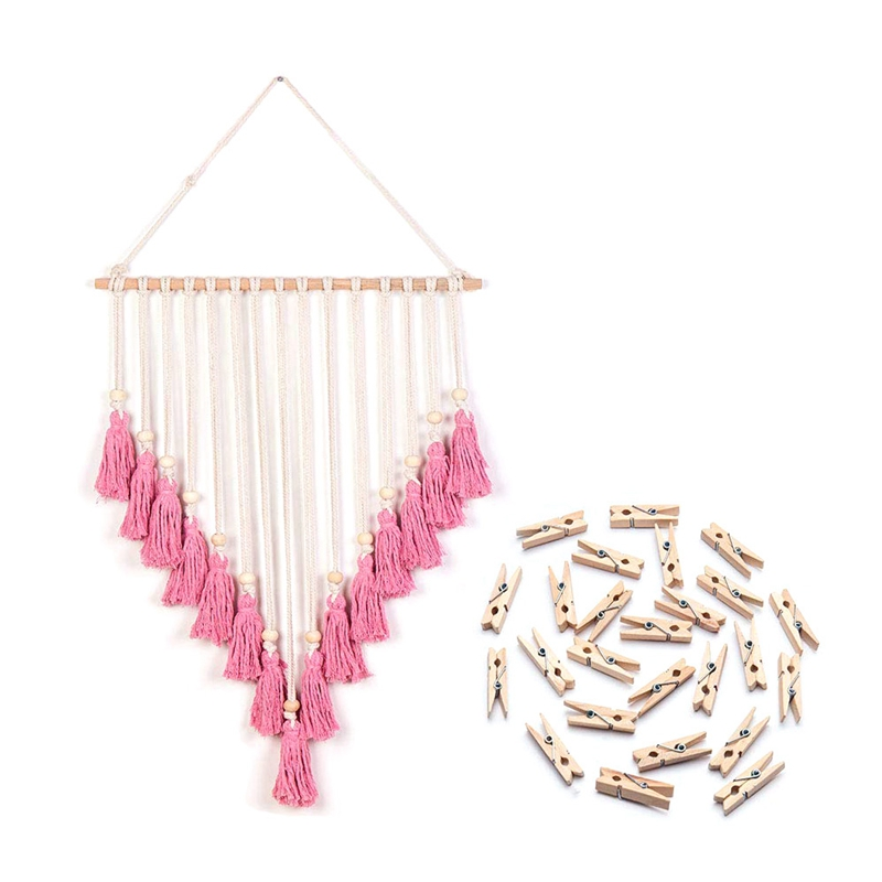 Wall Photo Display Macrame Wall Hanging Boho Bohemian Decor Art Picture Hanger for Home Living Room Dorm Pink & 25 Wood Clips|Decorative Tapestries| |  -