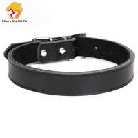 1 Piece Genuine Leather Durable Pet Dog collar Brown Black Red Orange Pink Green Blue for Puppy Large Dog Collar Size XS S M L