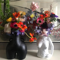 Creative Resin Body Art Vase Creative Living Room Bedroom Flower Pot Home Decoration Accessories Decor Art Statue