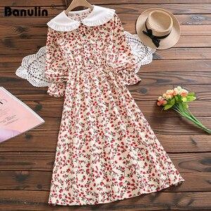 Image 1 - מורי ילדה מתוקה שמלה קוריאני אופנה סתיו נשים פרחוני הדפסת ארוך שמלות נקבה ארוך שרוול שמלת vestidos דה verano 2020