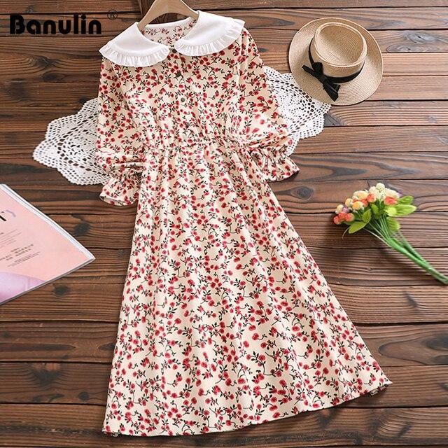 מורי ילדה מתוקה שמלה קוריאני אופנה סתיו נשים פרחוני הדפסת ארוך שמלות נקבה ארוך שרוול שמלת vestidos דה verano 2020