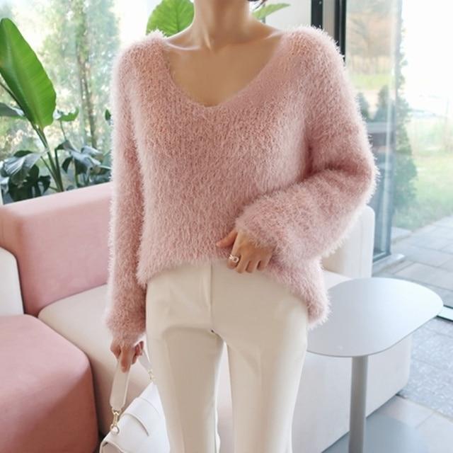 Ailegogo New 2019 Autumn Winter Women's Sweaters Loose Casual Fashionable Minimalist Tops Korean Style Knitting Ladies SW9160 1
