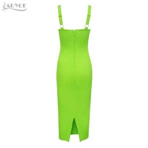 Image 5 - ADYCE 2020 New Summer Spaghetti Strap Bandage Dress Women Sexy Sleeveless Female Midi Bodycon Club Celebrity Evening Party Dress