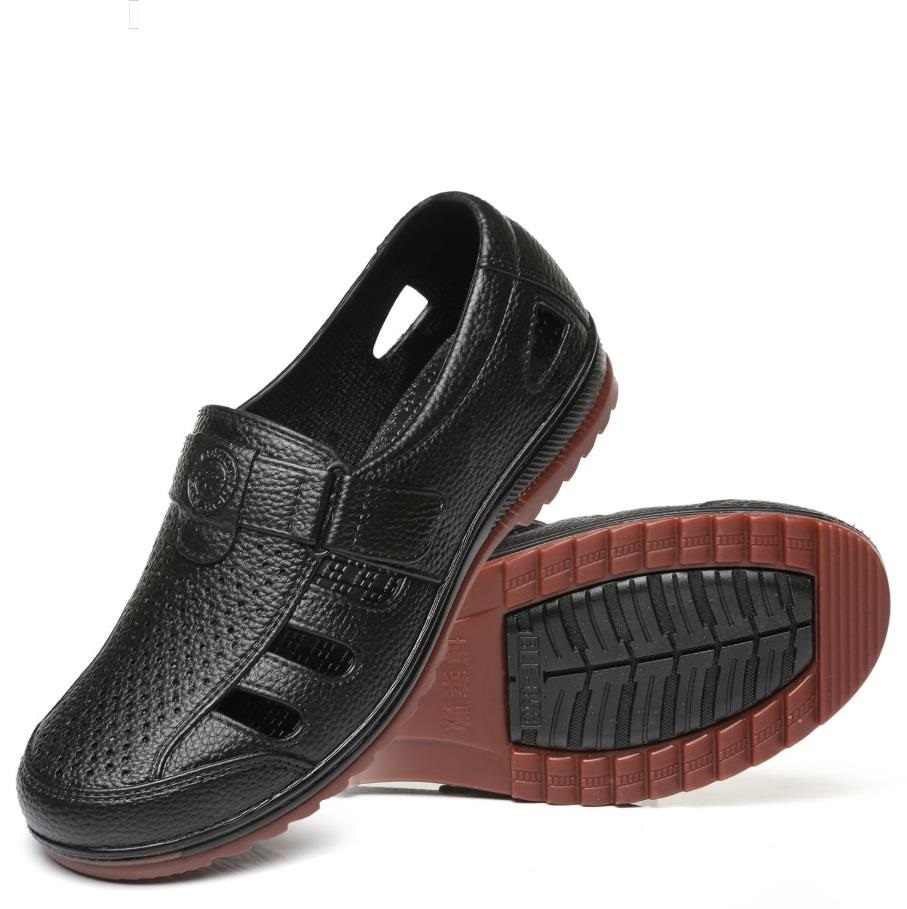 Mens Hollow Out Casual Sandal Shoes Slip On Black Pu Leather Breathable Dress