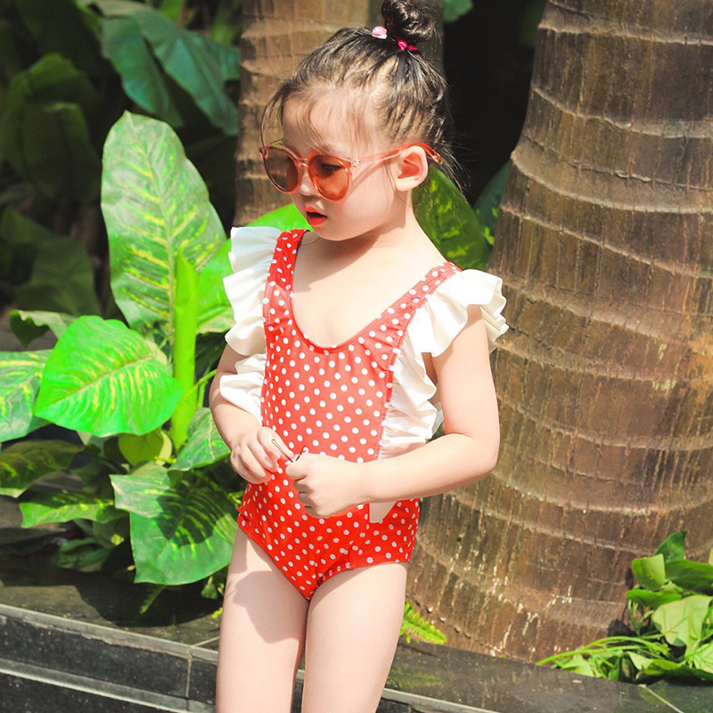 Korean-style GIRL'S One-piece Swimming Suit Frilled Cute Triangular CHILDREN'S Swimsuit Polka Dot Hot Springs Tour Bathing Suit