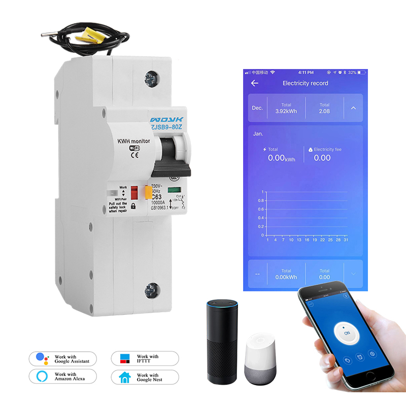 The Second Generation 1P WiFi Smart Circuit Breaker With Energy Monitoring And Meter Function For Amazon Alexa And Google Home