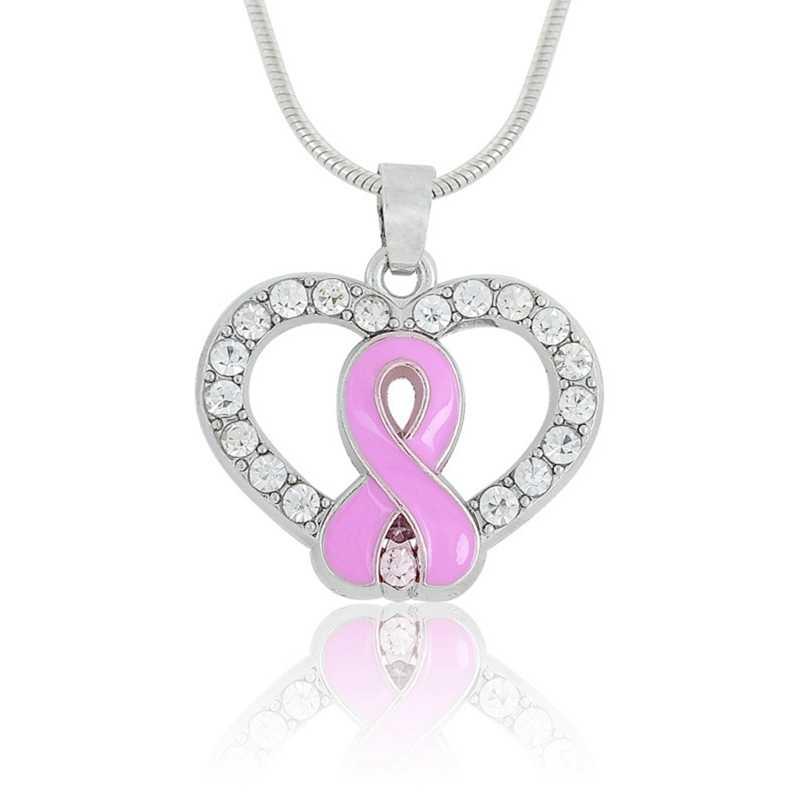 תליון שרשרת עבור שד סרטן מניעה, עם ורוד אמייל סרטים, קשתות, לבן rhinestones, לב בצורת עצם הבריח שרשרות