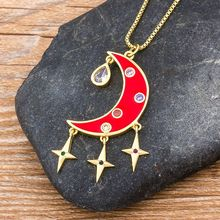 Top Quality Copper Cubic Zirconia Luxury Moon Star Pendant Chain Necklace Personal Design Statement Fashion Women Jewelry