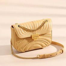 цена на Vento marea Genuine Leather Cross Body Bag Women Yellow Purse For Lady 2019 Chain Female Shoulder Phone Bags Chain Flap Handbag