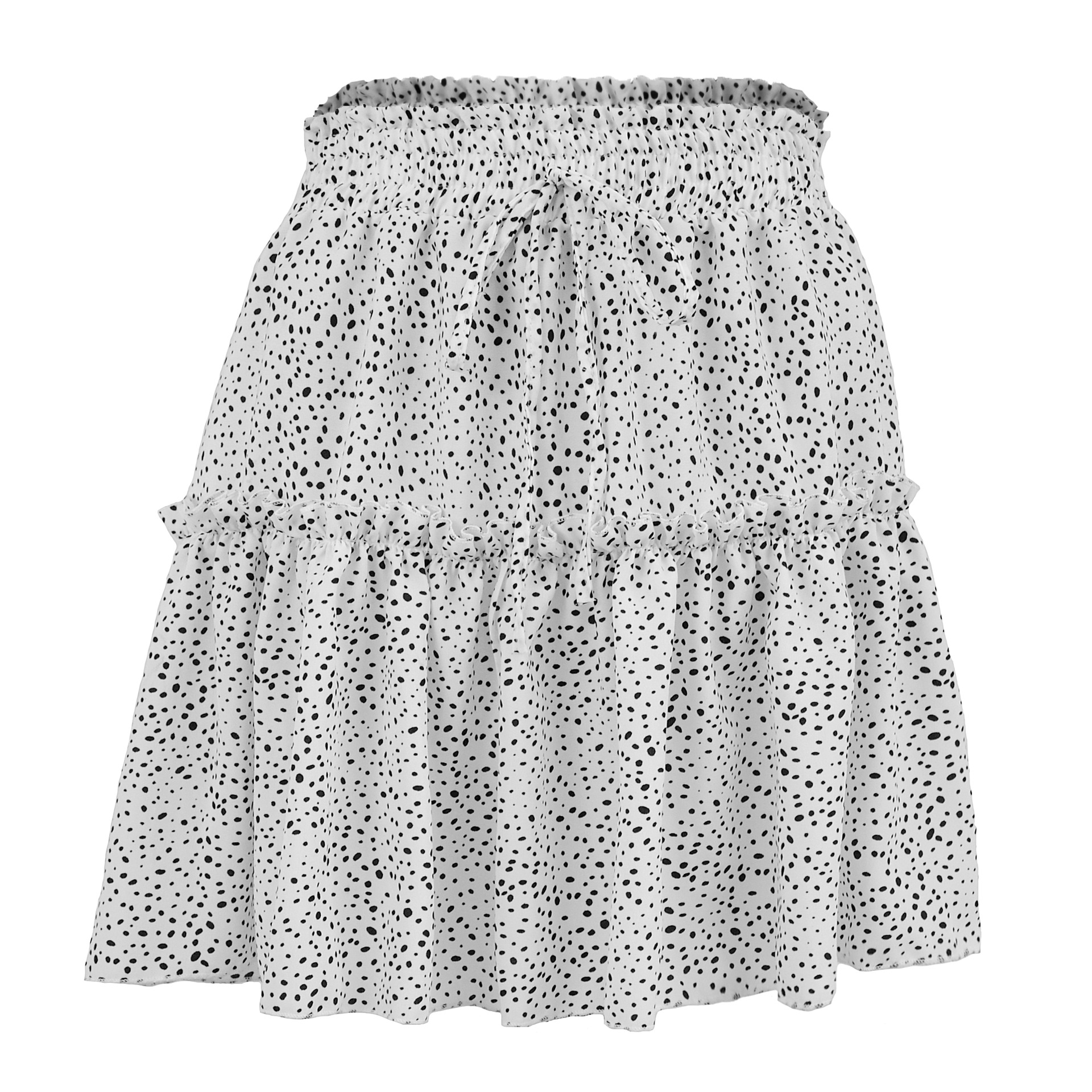 Women Dot Skirt Ladies Elastic Waist Chiffon Casual A-Line Above Knee Mini Empire Skirts