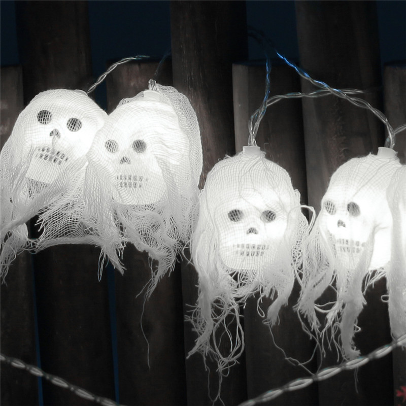 Halloween Fairy Lights 2.5M 10 LEDs Skull Decorative String Lights Battery Operated For Garden Party Festival Indoor Outdoor Use
