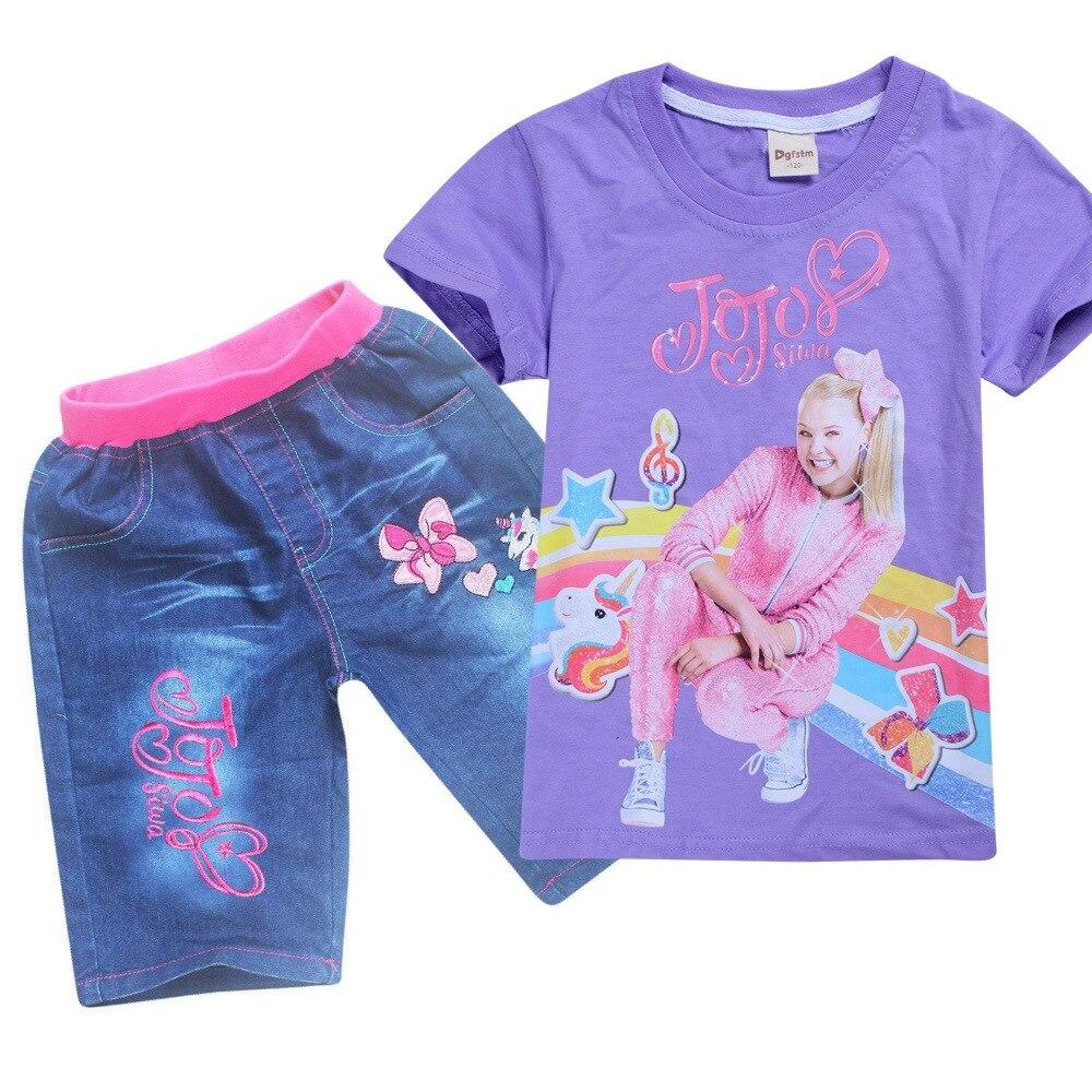 Летние детские футболки JOJO SIWA футболки для маленьких девочек комплекты с короткими рукавами для мальчиков и девочек футболки Одежда для