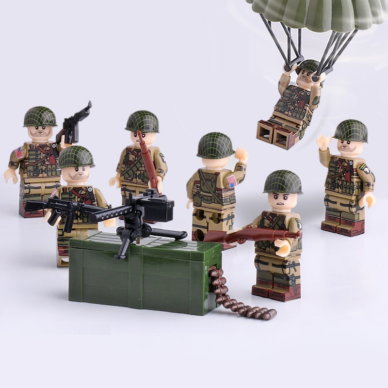 WW2 U.S. Army Airborne Division Mini Figures Military Weapons Parts Accessories Playmobil City Bricks Building Block Toys
