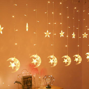 Battery Operated LED Star Moon Fairy Curtain String Lights Christmas Garland Outdoor For Home Wedding Party Garden Window Decor 3 5m 220v led moon star lamp christmas garland string lights fairy curtain light outdoor for holiday wedding party decoration