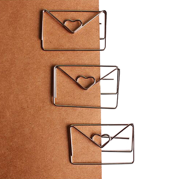 1pc 30mm*46mm Rose Gold Color  Heart Shape Paper Clip Coating PlatingCute Bookmark Tag