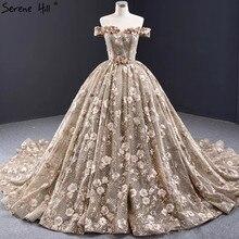 חאקי Off כתף סקסי שמלות כלה 2020 בעבודת יד פרחי פאייטים כלה שמלות Serene היל HM67081 תפור לפי מידה