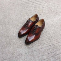 Fashion Dress Shoes for Big Kids Boys 16 Years Old Leather Oxford Shoes Lace Up Party Wedding Dress Shoes Size 11 Summer Casual