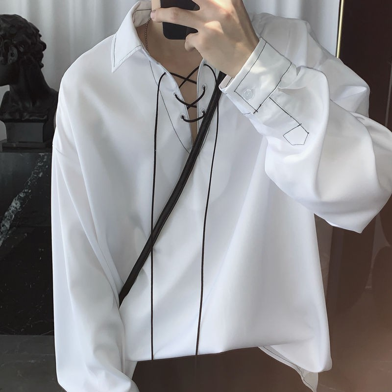 NiceMix Design Sense Blouse Women Clothes Korean Style Ascetic Ssystem Tops Drawstring Top Stitching V-neck Male Pullover Top