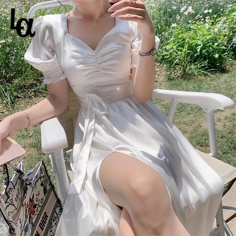 Удача французский рюшами Белый сексуальное платье с буффами на рукавах с разрезом; Летнее платье для девочек; Элегантное шифоновое фея плат...