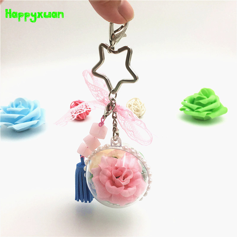 Happyxuan Kids DIY Craft Kits Toy Flower Beads Keychain Pendants Creative Handmade Birthday Gifts For Girls Educational
