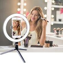 Lámpara de maquillaje para fotografía, espejo LED para Selfie, 260MM, regulable, cámara de maquillaje, lámpara de teléfono con trípodes de mesa soporte para teléfono