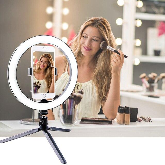 צילום איפור מנורת מראה LED Selfie אור 260MM Dimmable איפור מצלמה טלפון מנורת עם שולחן חצובות טלפון בעל stand