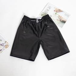 Elastico in vita bicchierini casuali delle donne Biker plus size nero di cuoio reale pantaloncini pantaloncini a vita alta femminile 2019 di modo di alta qualità