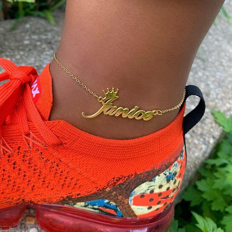 Personalized Name Crown Anklets Handmade Customized Cursive Font Nameplate Anklet Stainless Steel Chain Jewelry Birthday Gifts