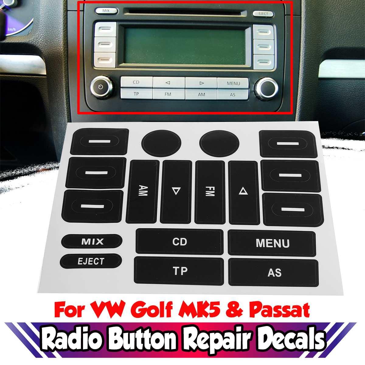 Новые наклейки для ремонта кнопки радио MK5, наклейки для ремонта автомобильных кнопок FM радио, наклейки для ремонта, новые наклейки для VW для Golf MK5 и для Passat Наклейки на автомобиль      АлиЭкспресс