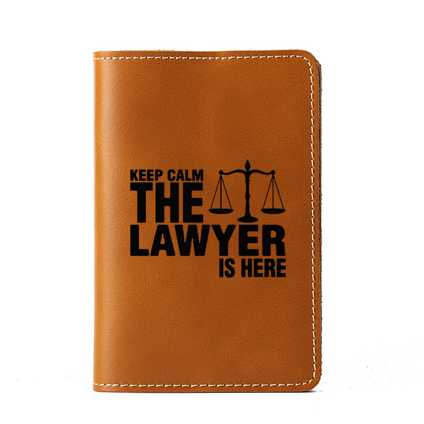 Genuine Leather Passport Cover Card Holder Purse Funny Keep Calm The Lawyer Is Here Wallet Card Holder