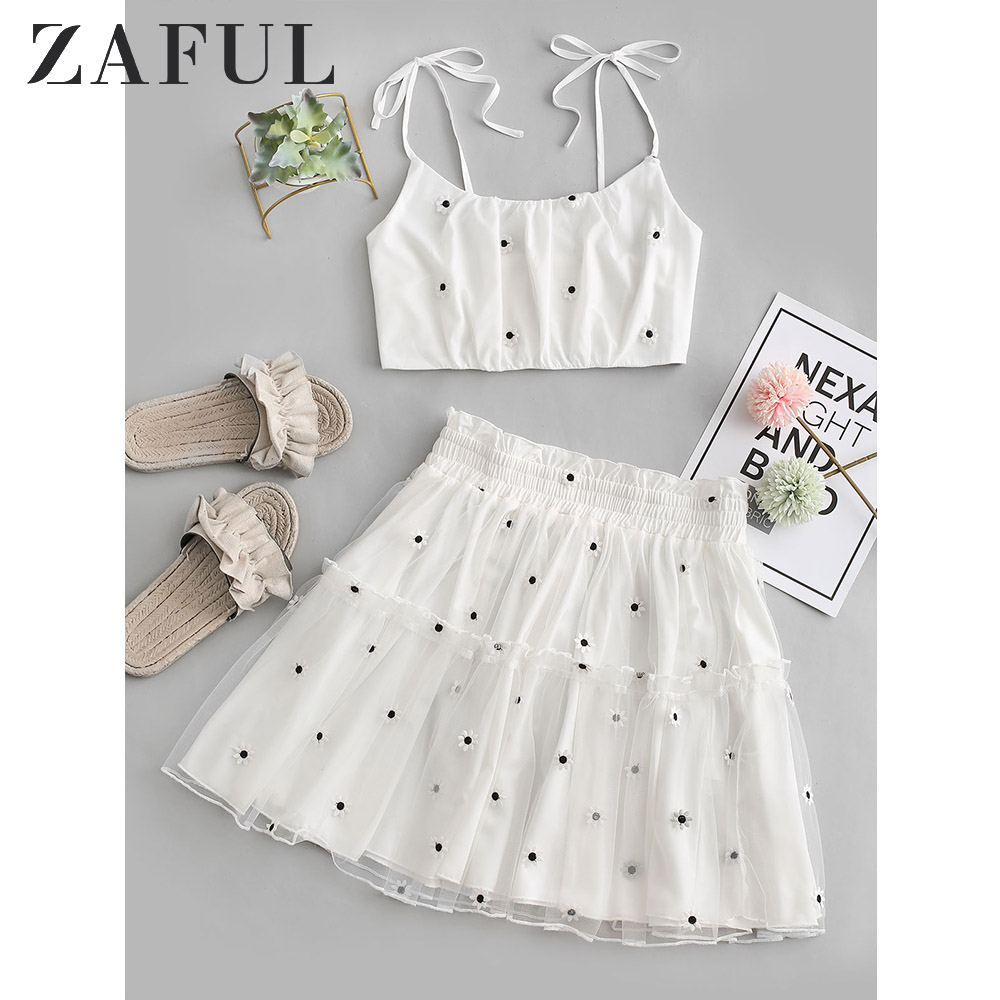 ZAFUL Floral Embroidered Smocked Mesh Two Piece Suit Tie Shoulder Cami Top A Line High Waist Mini Skirt Women'S Top And Bottom