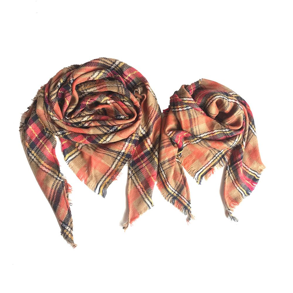 PatPat Autumn Winter Plaid Cashmere Scarf Variety Of Options Matching Triangle Shawl Scarf For Men Women Boy Girl Children