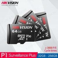 HIKVISION 100% gb 64 32 Class10 Cartão TF Cartão Micro SD Originais 128gb 256gb Max 90 Mb/s cartão de memória para Hikvision Segurança # P1