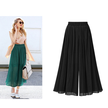 Women Elastic High-Waist  Loose Plus-Size Pants Ladies Fashion Streetwear Wide-Legs Casual Chiffon Waist-Trousers Culotte plus size plain loose wide legs jumpsuit