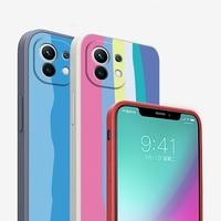 Funda protectora trasera para Xiaomi Redmi Note 10, 9S, 8, 9 Pro, Max, 9T, de silicona suave, cuadrada, arcoíris, POCO F2 Pro