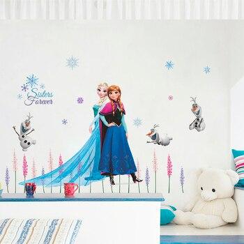 Disney Olaf Elsa Reina Anna princesa Anime pared pegatinas niños habitación base decoración del hogar dibujos animados Mural arte congelado película Póster