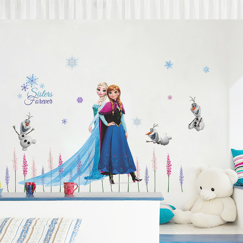 Disney Olaf Elsa Queen Anna Princess Anime Wall Stickers Kids Room Baseboard Home Decor Cartoon Mural Art Frozen Movie Poster