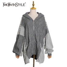 Knitted Cardigans Hooded-Collar TWOTWINSTYLE Korean Oversized Casual Sweater Irregular