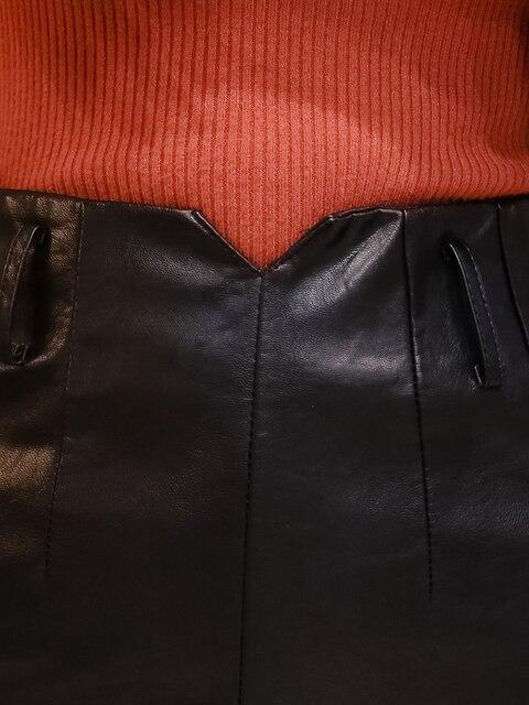 Купить женская юбка с поясом из пу кожи элегантная черная средней длины картинки цена