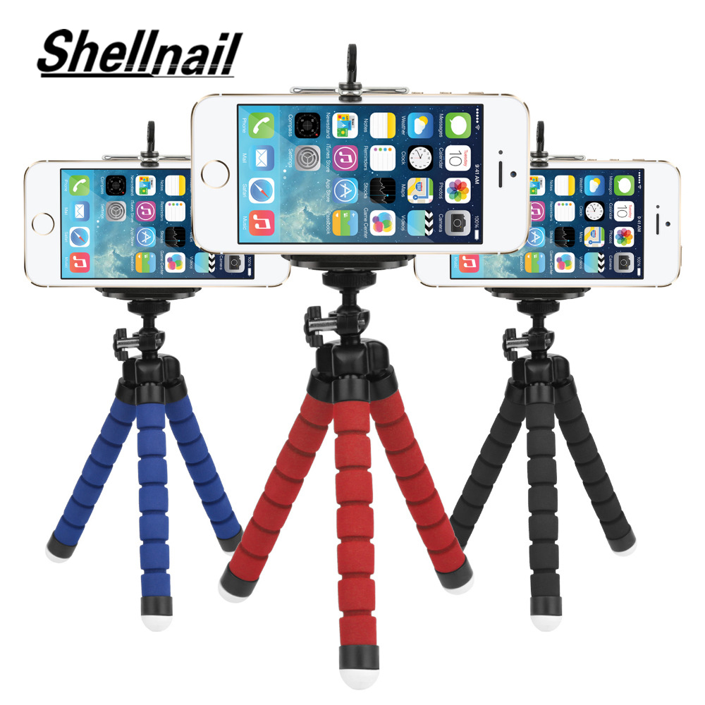 SHELLNAIL Phone Clip Holder Mini Flexible Sponge Octopus Tripod Smartphone Tripod Stand Camera Mobile Phone Accessory Support