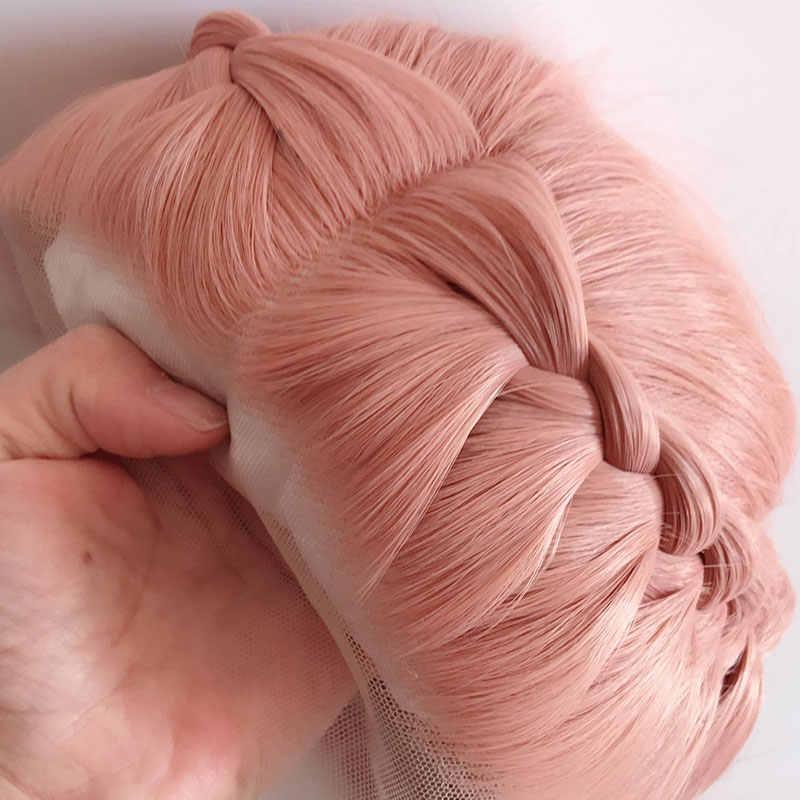 Bomshell ROSA MELOCOTÓN Peluca de encaje sintético liso 13*3, peluca frontal trenzada, pelo de fibra resistente al calor, peluca de corte medio para pelucas de mujer blancas