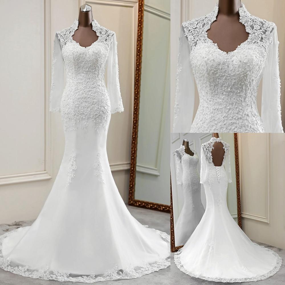 Long Sleeves Wedding Dress 2020 Wedding Gowns Applique Robe De Mariee Elegant Marriage Lace Dress Bride Dress Wedding Gowns
