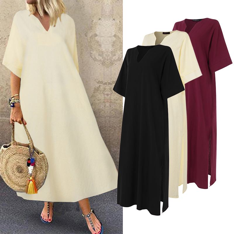 ZANZEA <font><b>Sexy</b></font> Split Maxi Dress 2020 Summer Long Dresses Women V Neck Robe <font><b>Femme</b></font> Casual Loose Sundress 3/4 Sleeve Long Vestidos <font><b>5XL</b></font> image