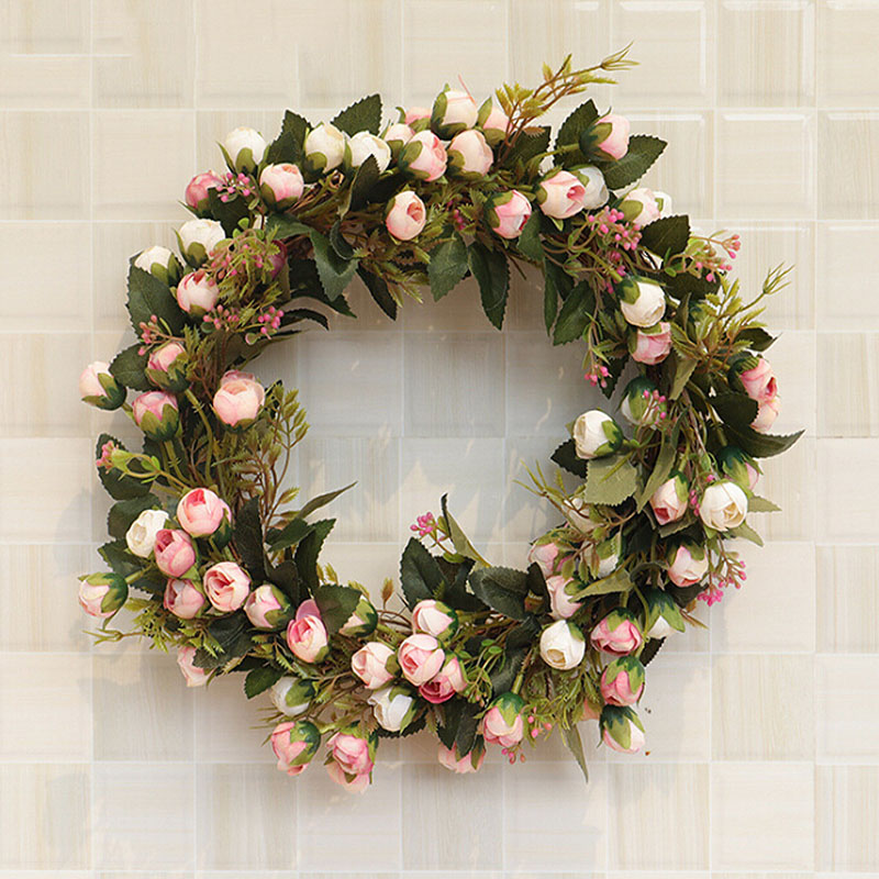 Artificial Rose Floral Wreath 30cm/40cm Silk Fake Flower Garland For Home Front Door Wedding Wall Hanging Decoration