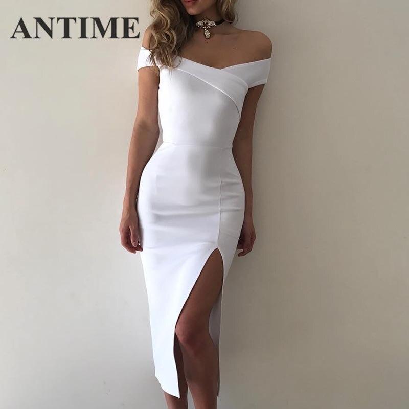ANTIME Weiß Party Kleider Tiefen V-ausschnitt Frühjahr Sommer Casual Split Frauen Bleistift Ärmel Off Schulter Sexy Elegante Midi Kleid