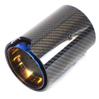 Inner 67mm Real Carbon Fibre Grilled Blue Stainless Steel For M Performance Exhaust Pipe Muffler Car Accessories Modification